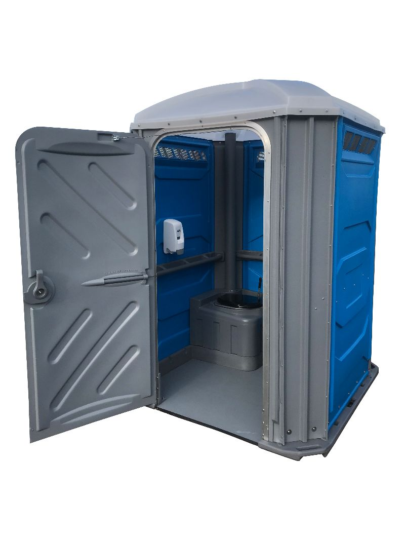 blue and grey disabled portable toilet
