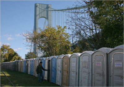 Portable toilets during a marathon