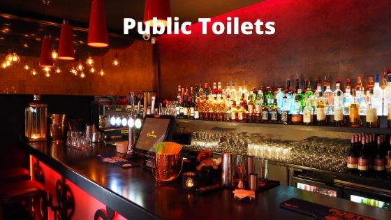 public toilets in a bar