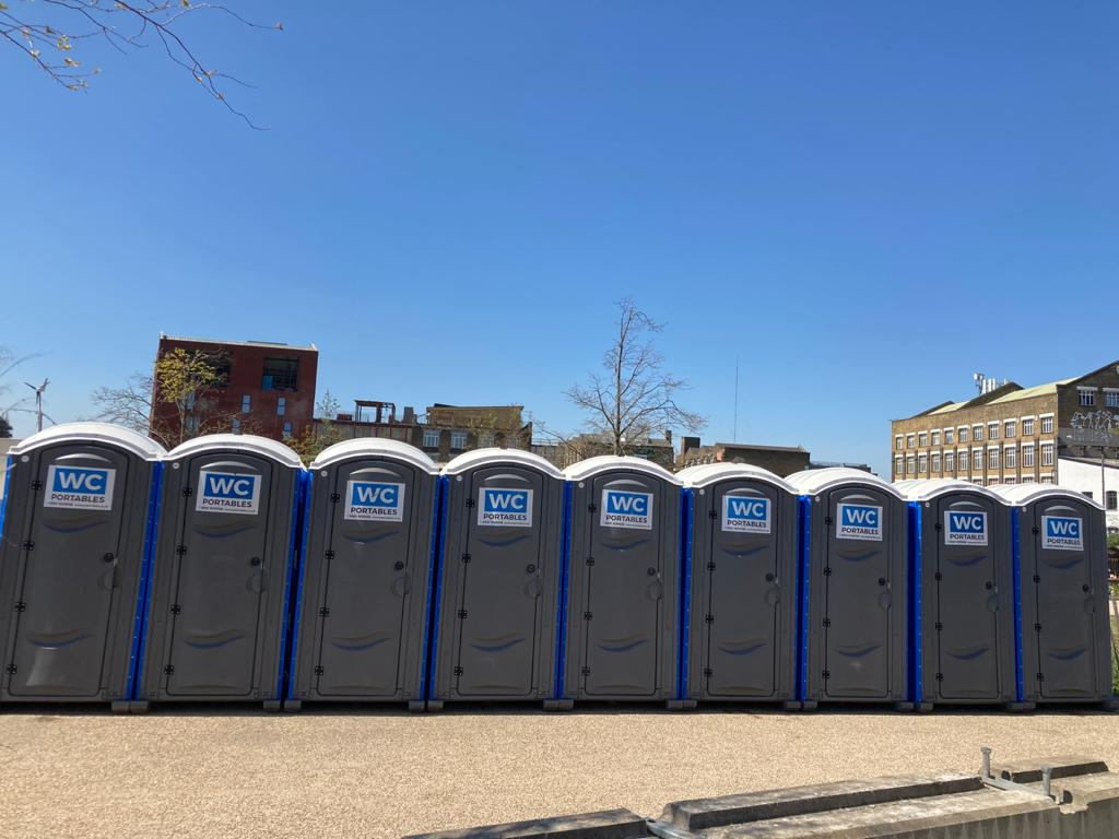 portable toilets on display